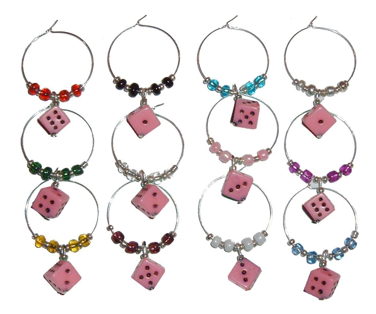 Hot Pink Dice Wine Charms with Pouch - 1 Dozen