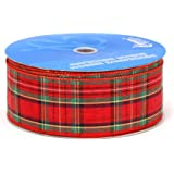 Berwick 2-1/2-Inch Wide by 50-Yard Spool Wired Edge Clarkston Craft Ribbon, Red/Green/Gold - Packed 2