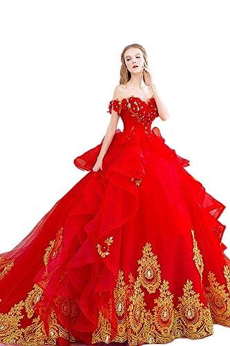 Sisjuly Women's Beaded Long Appliques Ruffles Ball Gown Wedding Dress for Bride