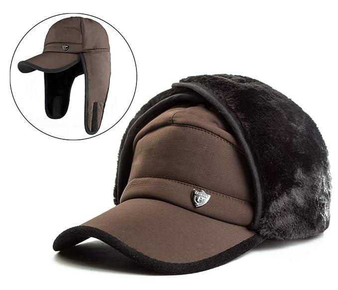 d850e08984b Yooeen Men s Ushanka Russian Hat Classic Flat Army Military Caps Trapper Hats  Warm Faux Fur Winter