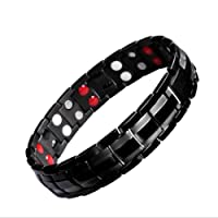 Titanium Magnetic Therapy Bracelets for Men Women Healthy Sleek Cuff Wristband for Relief Pain with Free Link Removal Tool