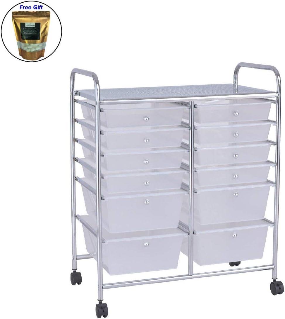 12 Storage Drawer Rolling Cart Studio Organizer Bins Scrapbook Paper Office