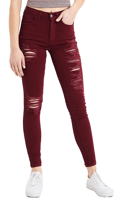 t Level Super High-Waisted Jegging Jeans X American Eagle Womens Ne Burgundy