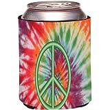 Rikki Knight Green Peace Sign on Tie Dye Design Drinks Cooler Neoprene Beverage Insulators Huggers