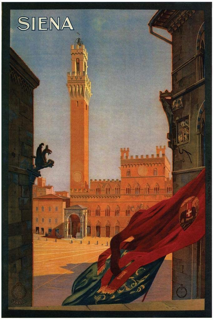Siena Italy Town Square Vintage Travel Cool Wall Decor Art Print Poster 24x36