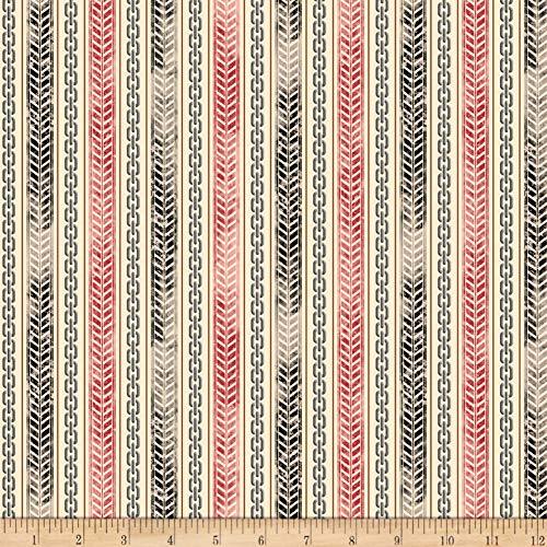 Fabric & Fabric QT Rule The Road Tire Track & Chain Stripe Cream Fabric by The Yard