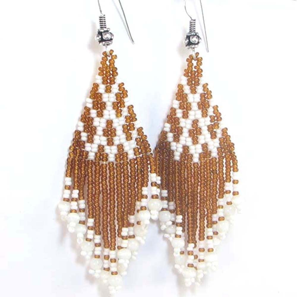 Geometric Glass Beaded Drop Earrings *Handmade*