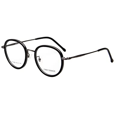 9c5f948b07f3 Jimmy Orange Designer Round Mens Womens Designer Vintage Fashion Optical Glasses  Frames JO513 Bright Black  Amazon.co.uk  Clothing