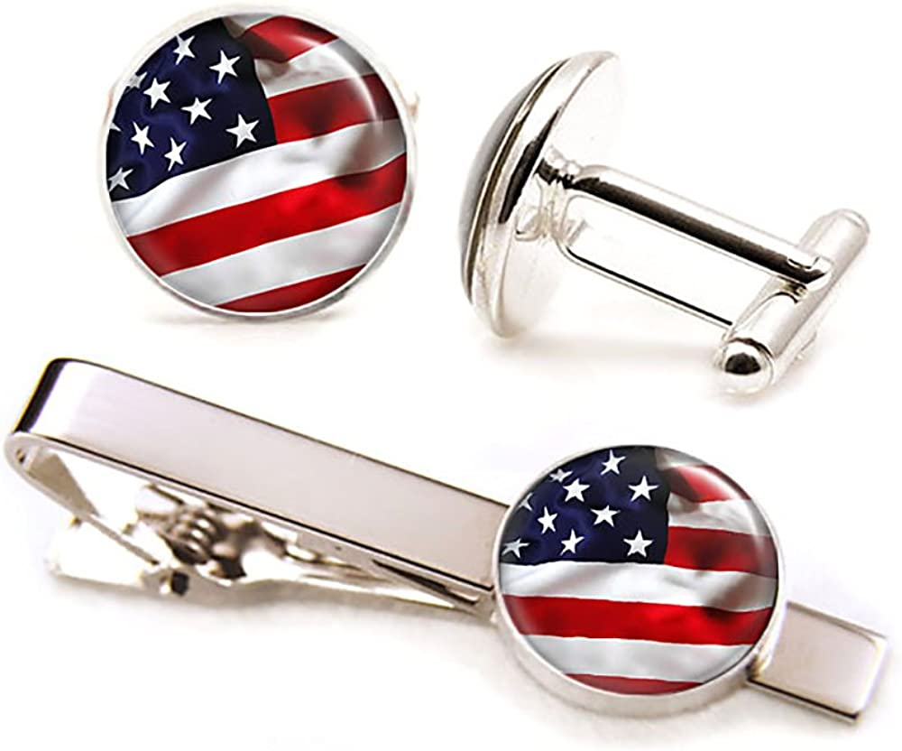 US Flag Cufflinks, United Stated Flag Tie Clip, Patriotic Jewelry, July Fourth Cuff Links, July 4 4th Cufflinks