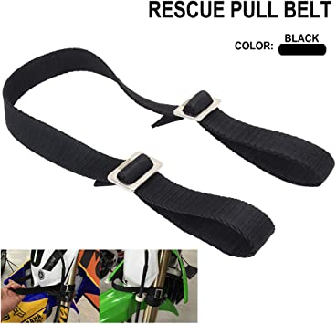 Black Rescue Traction Strap Pull Sling Belt Safety Accessories Universal For Most of Motorcycle Dirt Bike Pit Enduro Compatible With Honda KTM Yamaha Kawasaki Suzuki