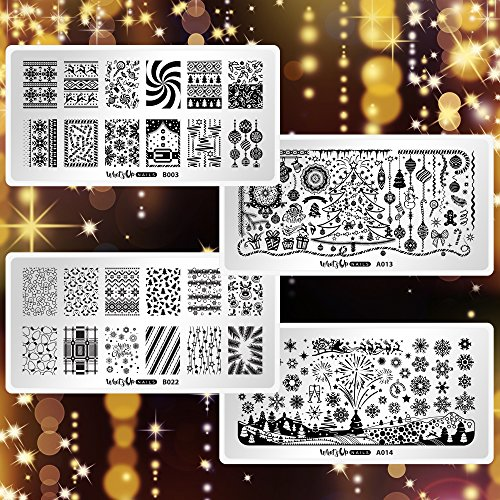 Whats Up Nails - 4 Pack Variety Stamping Plates (A013, A014, B003, B022) for Christmas, New Year and Winter Stamped Nail Art Design