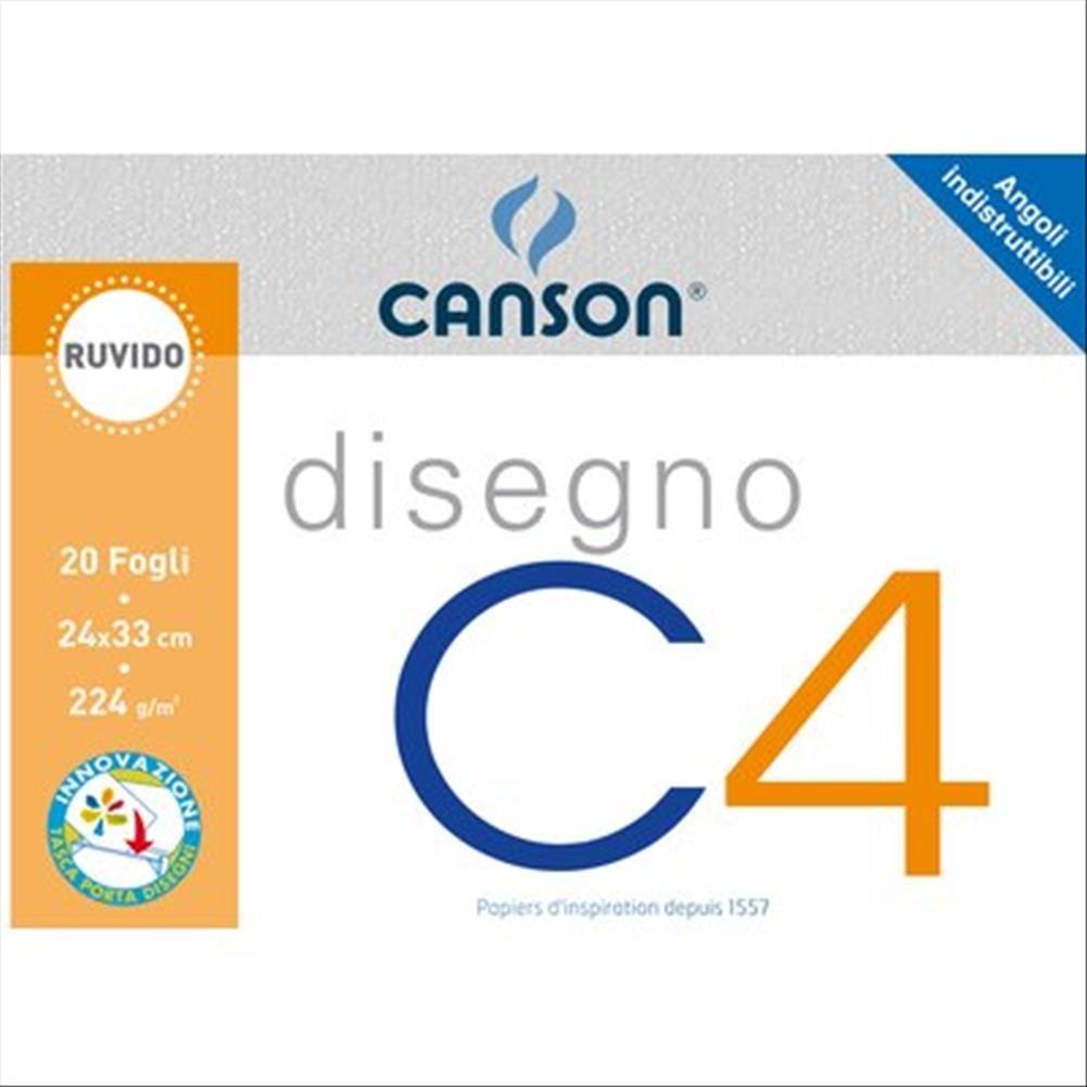 Disegno C4 20 Fogli Album a 4 Angoli Canson Liscio 33x48 cm 200 G//Mq