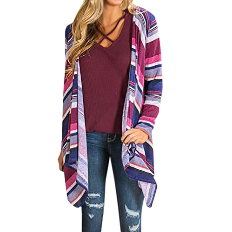 Besde Womens Fashion Casual Winter Long Sleeve Color Stripe Print Open Front Cardigan Blouse Tops