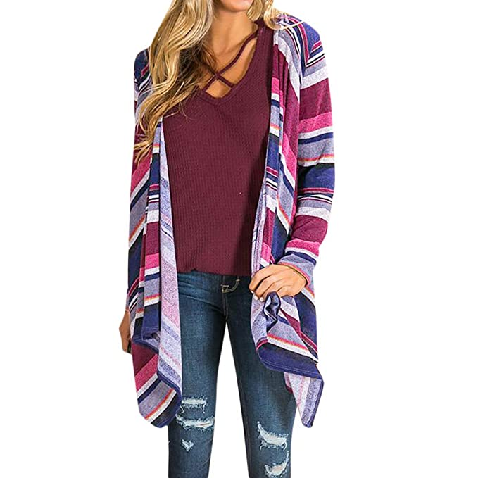 Amazon.com: Besde Womens Fashion Casual Winter Long Sleeve Color Stripe Print Open Front Cardigan Blouse Tops: Clothing