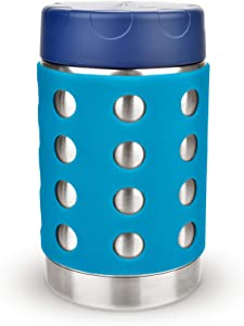 LunchBots Thermal 16 oz Triple Insulated Food Container - Hot 6 Hours or Cold 16 Hours - Leak Proof Thermos Soup Jar - All Stainless Interior - Navy Lid - Aqua Dots