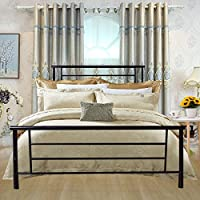 Metal Bed Platform Box Spring Replacement Foundation with Headboards & Hevay Duty Steel Slats, Queen