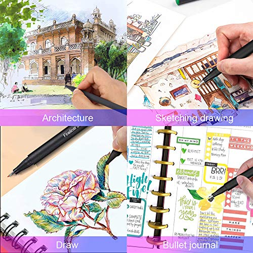 Colored Journaling Planner Pens, 24 Fine Point Markers Pens for Noting Writing Drawing Coloring Book, 0.4mm Fineliner Pens for Scrapbooks School Office Art Crafts Supplies Planner Calendar Agenda