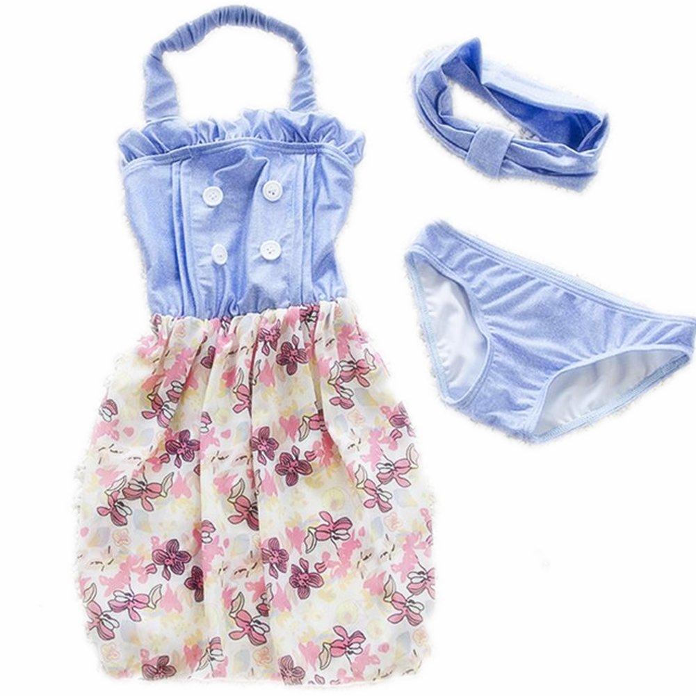 ZYZF Kid Girl Tankini Bikini Swimwear Floral Jeans Swimsuit Rash Guard UPF 50+ UV 20160614048