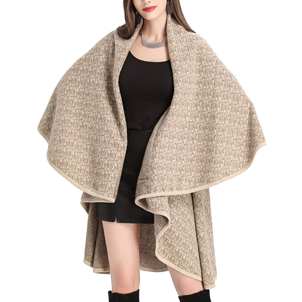 Beige LIULIFE Cape Poncho Double Layer Large Shawl Cloak Knit Cardigan Women's Coat Spring Autumn Upper Outer Garment