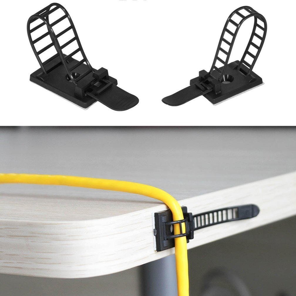 50 Pcs Adjustable Cable Clips,Viaky Self Adhesive Black Wire Clips Cable Management Cable Organizer Wire Holder Clamps - Black by viaky (Image #5)