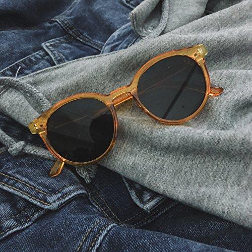 3044ec5ee2 VVIIYJ Gafas de sol caja amarilla mujer Gafas de sol redondas cara redonda  masculina ,amarillo
