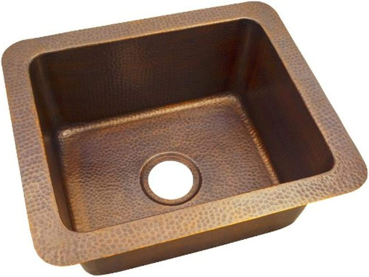The Copper Factory CF162AN Rustic Kitchen Sink, small, Antique Copper