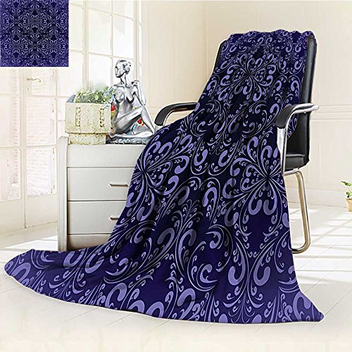 (YOYI-HOME Duplex Printed Blanket Ultra-Plush Navy Blue Floral Timeless Renaissance Themed Romantic Royal Victorian Pattern Violet and Navy Couch, Outdoor, Travel Use./W59 x H39.5)