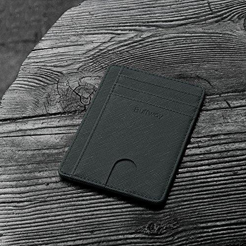 Slim Minimalist Leather Wallets for Men & Women - Cross Blackish Green by Buffway (Image #3)