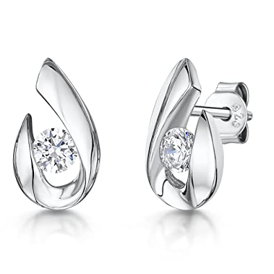 764e0a874 JOOLS by Jenny Brown ® -Sterling Silver Stud Earrings- Featuring An Open Pear  drop Shape And Set With A Single Round Cubic Zirconia Stone: Amazon.co.uk:  ...