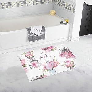 Perfume Romantic Scent Design Retro Color Custom Non-Slip Bath Mat Rug Bath Doormat Floor Rug for Bathroom 20 X 32 Inch