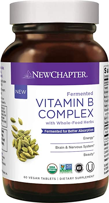 New Chapter Vitamin B Complex, Fermented Vitamin B Complex, One Daily with Whole-Food Herbs + Adaptogenic maca for Natural Energy + Beauty, 100% Vegetarian, Gluten-Free, 60 ct