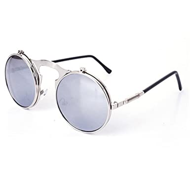 2a888d2fe0f Surprising Day Retro Steampunk Googles Vintage Round Flip Up Sunglass Women  Mens Clip On Sunglasses Metal