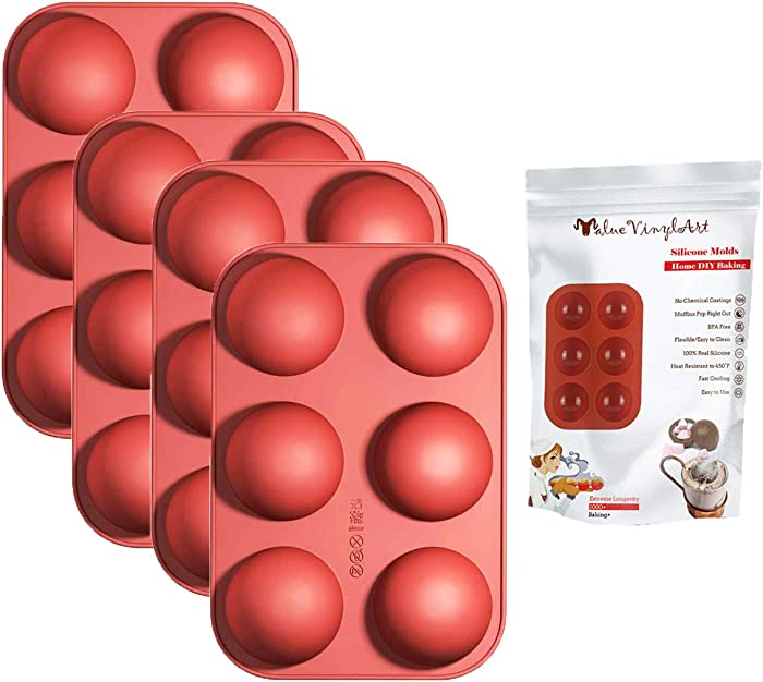 6 Holes Silicone Chocalate Molds,Medium Semi Sphere Silicone Mold for for Chocolate, Cake, Jelly, Handmade Soap DIY Cake,Food Grade Silicone,Non-stick, BPA Free,Set of 4