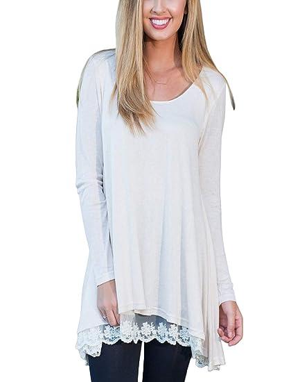 FeelinGirl Blusa Camisa Falda para Mujer Mangas Largas Encaje Blanco S