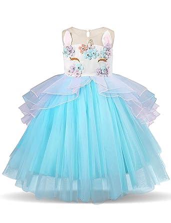 888952133f71d Brofans Fille Costume Licorne Déguisement de Noël Robe Princesse Volants  Cosplay Le Mariage Les Parties  Amazon.fr  Vêtements et accessoires