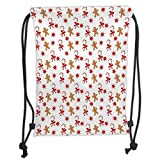 Custom Printed Drawstring Sack Backpacks Bags,Gingerbread Man,Candy Cane with Bowties Red Star Figures Gingerbread Man Pattern,Sand Brown Orange Soft Satin,5 Liter Capacity,Adjustable String Closure,T