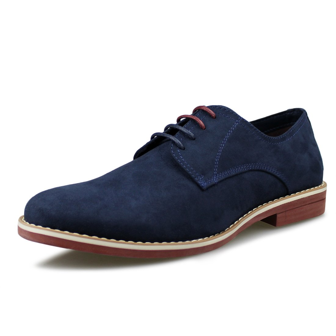Hawkwell Men's Casual Suede Classic Lace up Oxfords Shoes,Navy Suede PU,12 M US