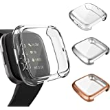 3 Pack Screen Protector Compatible Fitbit Versa 2 Case, GHIJKL Ultra-Thin Slim Soft TPU Protective Case All-Around Full Cover