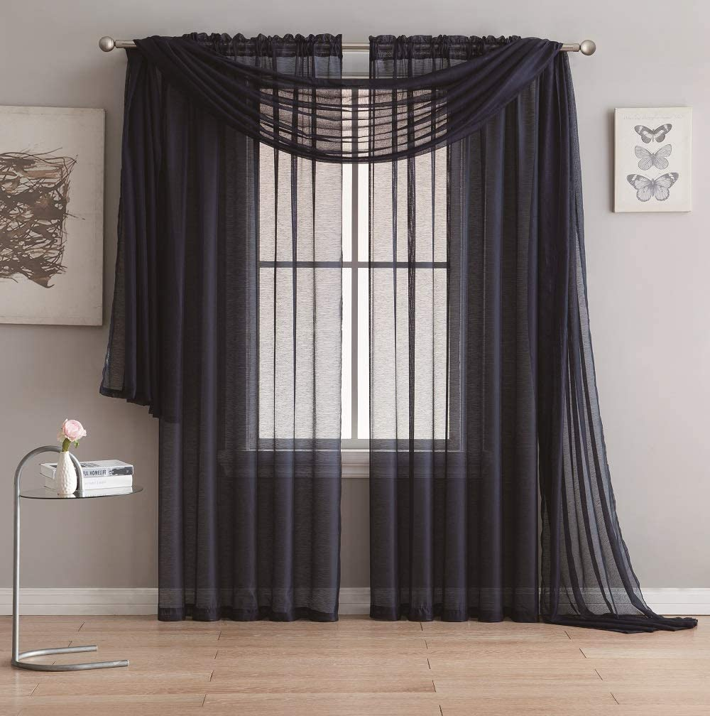 "ASATEX Pair of Light Filtering Semi Transparent Extra Long 54 by 108 Inch Navy Blue Voile Curtain Panels are Perfect Home Decor for Living Room, Dining Room, Bedroom or Nursery. ROM 54"" x 108"" Navy"