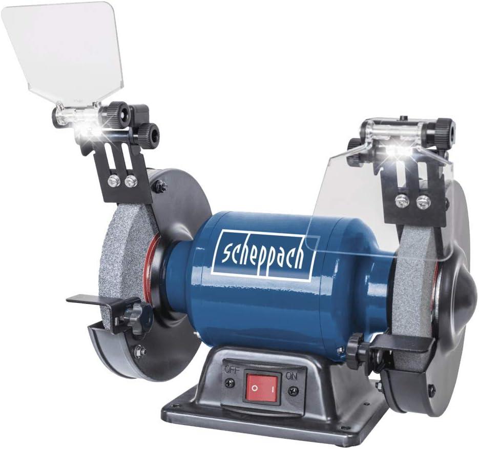 Scheppach 5903107901 Amoladora doble SM150L de 150 mm + disco de desbaste, ideal para todo tipo de trabajos de lijado, afilado y pulido, motor de 400 W, 230 V, Bohrung Durchmesser : 150/12,7 mm