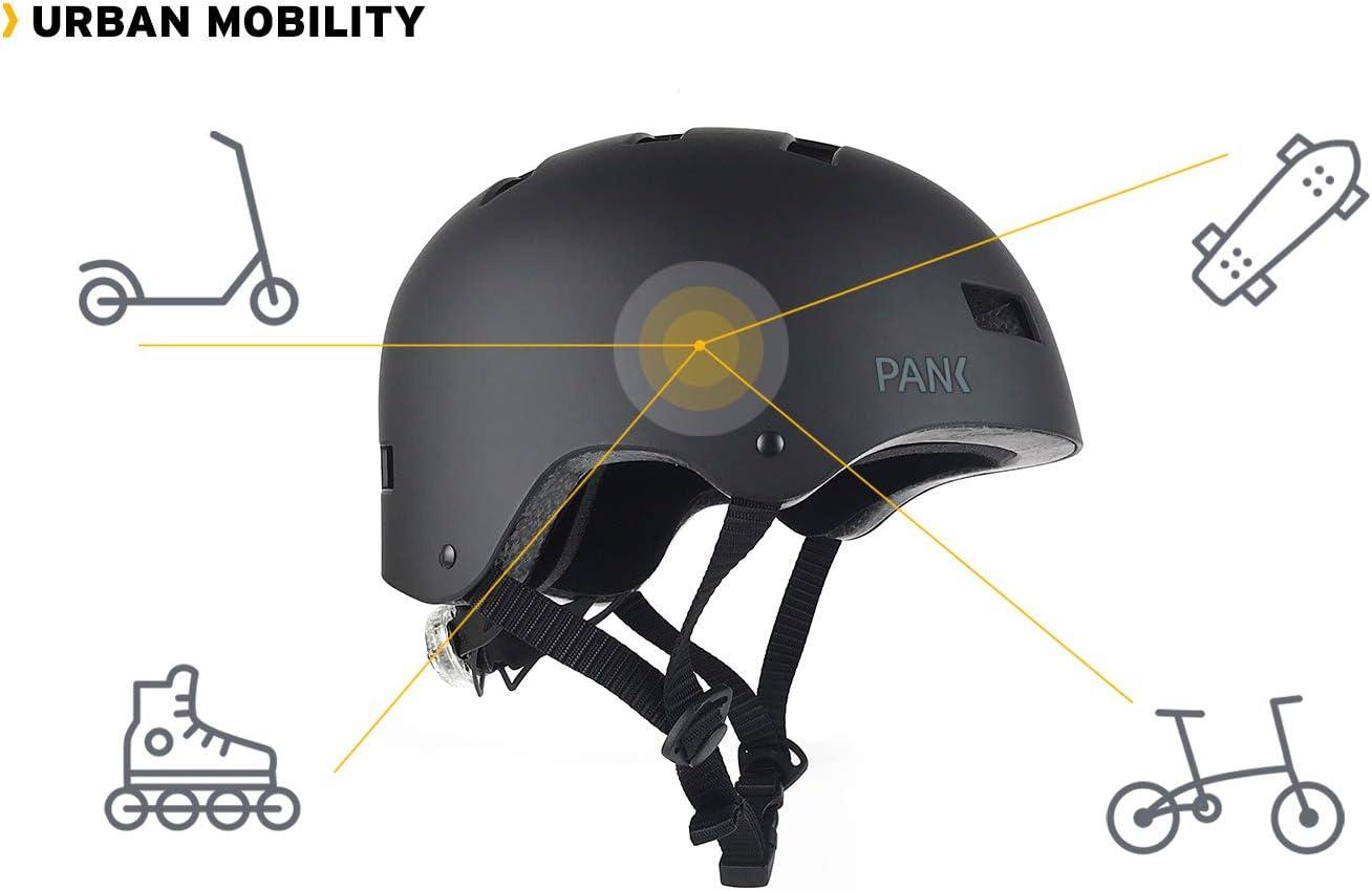 Conception Ultra l/ég/ère PANK Casque pour Trottinette /électrique Roller et Skateboard /Éclairage LED arri/ère Multiposition. v/élo Urbain