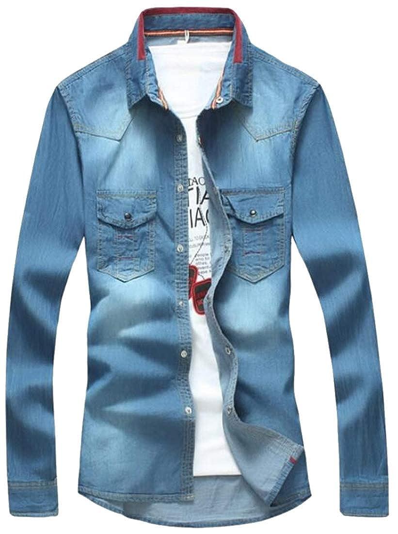 Men Long Sleeve Lapel Buttons Down Jean Shirt Denim Blue Casual Slim Blouse Tops