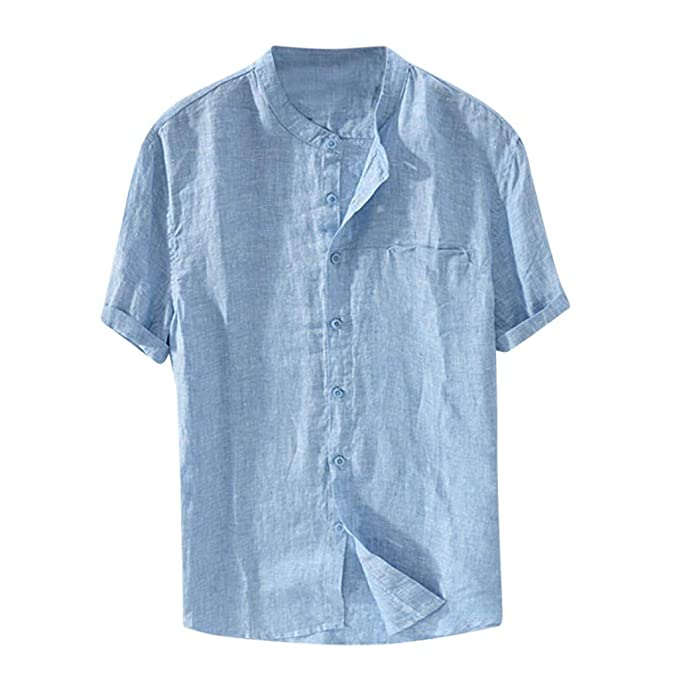 bd4264dd1a7 Camiseta Hombre MISSWongg Hombres Baggy Algodón Lino Color sólido Manga  Corta Camisetas Retro Tops Blusa Cuello Redondo Antiarrugas Tops de Hombre  Clásico ...