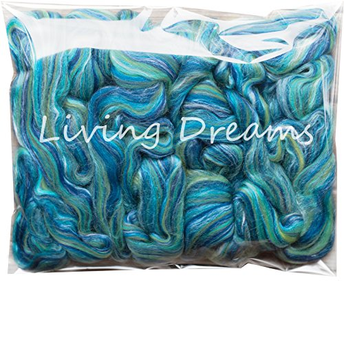 SILK MERINO Fiber for Spinning. Super Soft Combed Top Wool Roving for Hand Spinning, Wet Felting, Nuno Felting, Needle Felting, Soap Making, Paper Making and Embellishments. (Roving Fiber)
