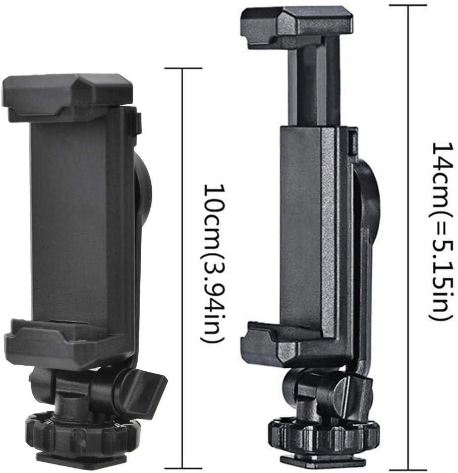 Giro de 360 /° Disparo Vertical//Horizontal Montaje en tr/ípode C/ámara Zapata Caliente 1//4 Accesorio de Abrazadera de tel/éfono Inteligente Soporte Universal para Clip de tel/éfono con c/ámara