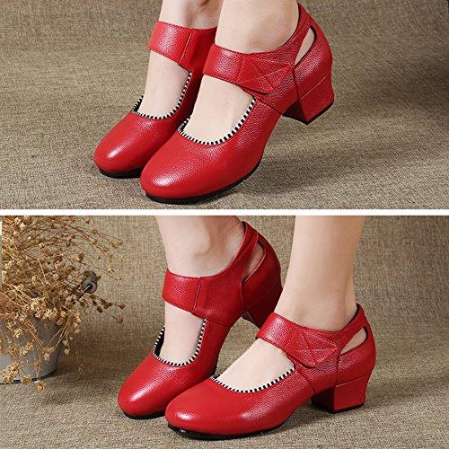 EU40 Klettverschluss 2 250mm Mittlerer 5 Farbe Absatz Jazz PENGFEI Weicher UK6 Frühling Tanzschuhe Rot Stiefeletten L Damen größe Farben Boden Schuhe xxawzSq