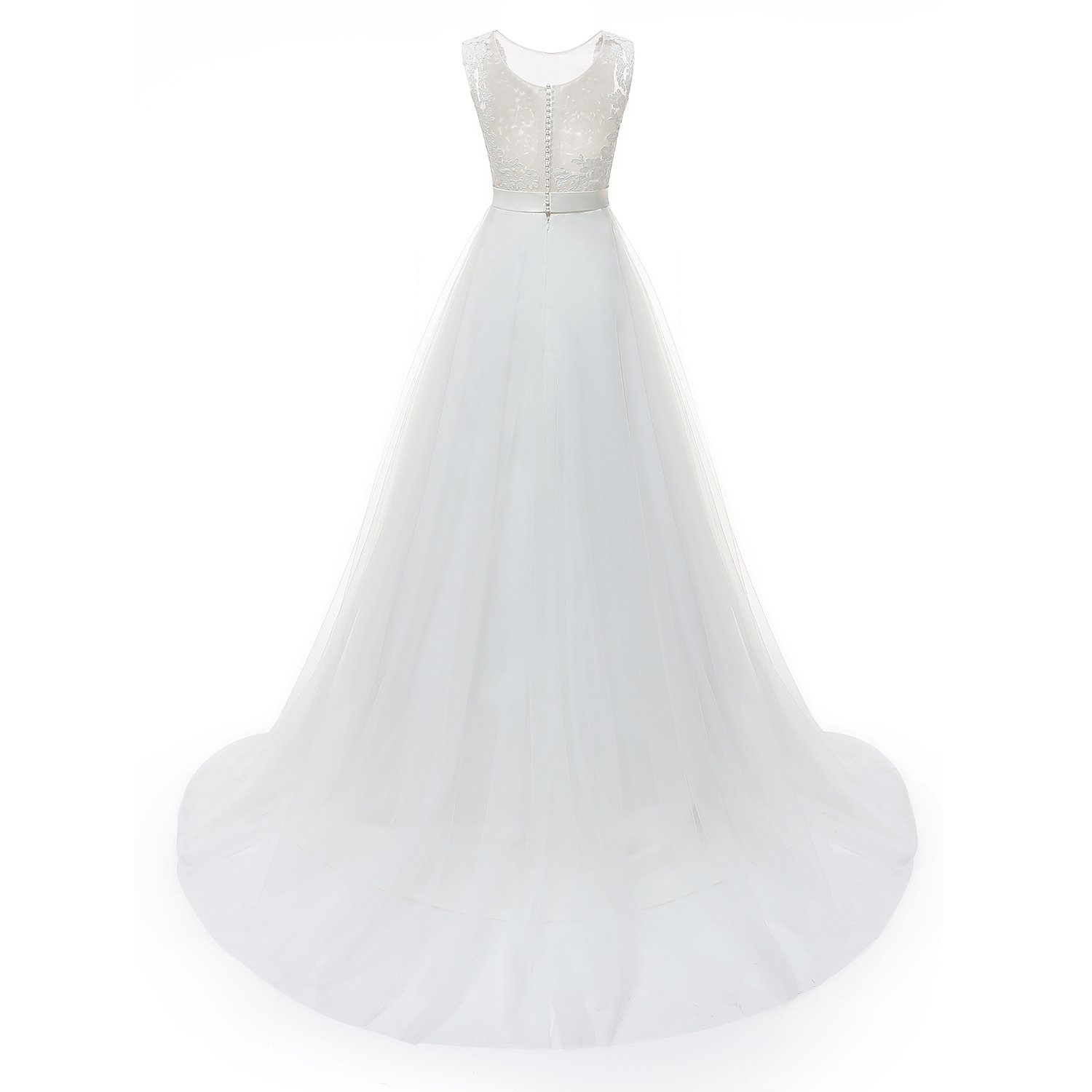 7ffda53833e3 Molixin Women's Plus Size Wedding Dresses Round Neck Bridal Gowns Outdoor Prom  Dress at Amazon Women's Clothing store:
