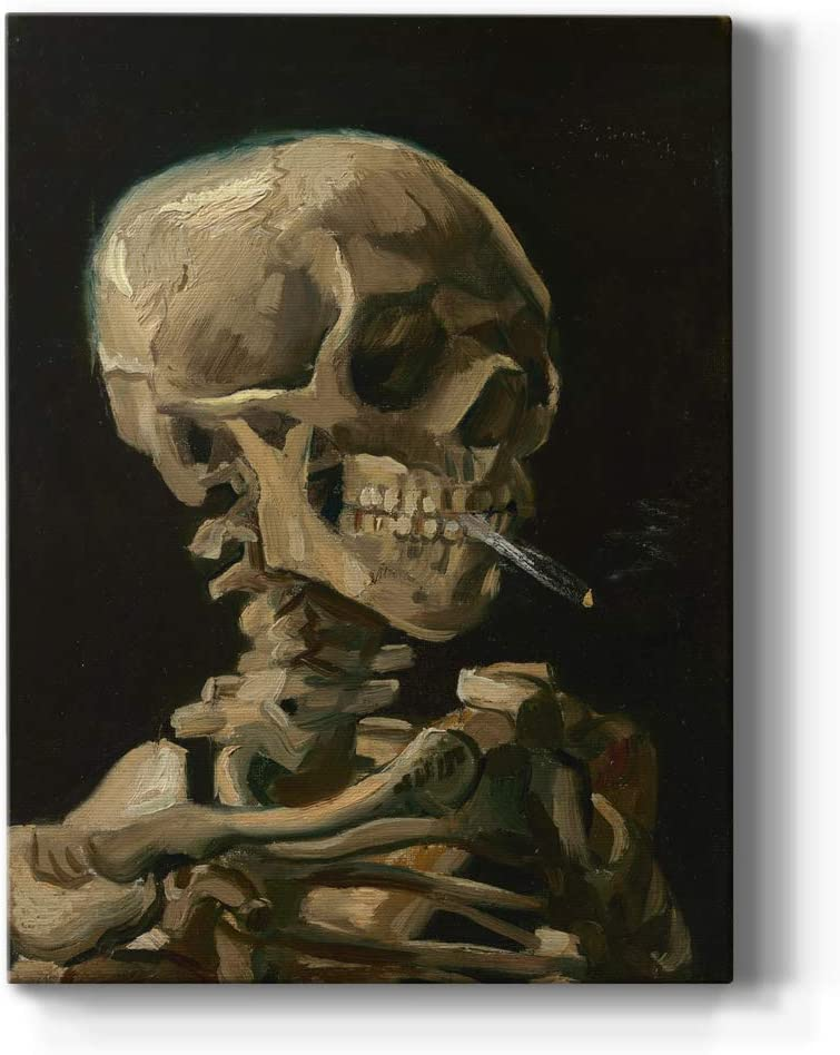Renditions Gallery Skull of A Skeleton with Burning Cigarette by Vincent Van Gogh Printed, Famous Painting Reproduction, Premium Gallery Wrapped Canvas Décor, Ready to Hang, 8 in H x 12 in W, USA