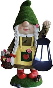 By Mark & Margot - Garden Gnome Statue Large Solar Decorations Funny Swedish Flocked Lady with Outdoor Light - Gorgeous Novelty Gnomes Lover Gift for Home Yard Office Decor Gift (13 Inches Tall)