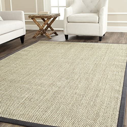 Safavieh Natural Fiber Collection NF443B Tiger Eye Marble and Grey Sisal Area Rug 11' x 15'